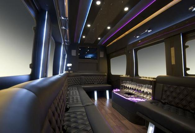 Interior of a large party bus